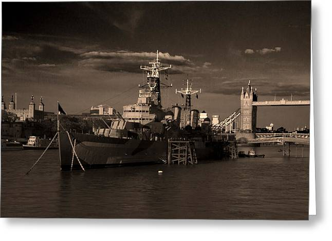 Tower  Bridge Hms Belfast Tower Of London Greeting Card