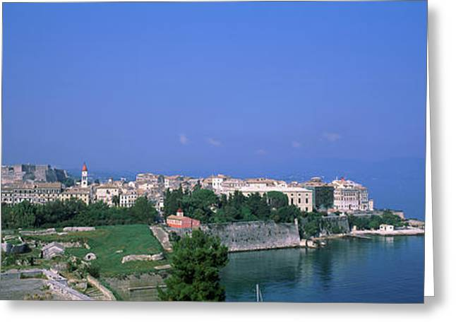 Town At The Waterfront, Corfu, Greece Greeting Card