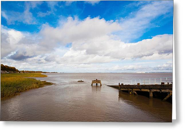 Town Pier On The Gironde River Greeting Card