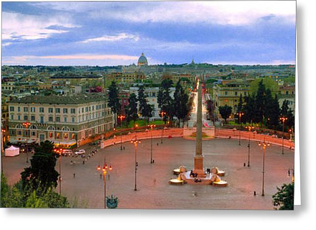 Town Square With St. Peters Basilica Greeting Card