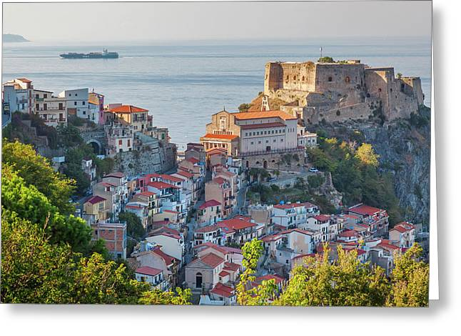 Town View With Castello Ruffo, Scilla Greeting Card by Peter Adams