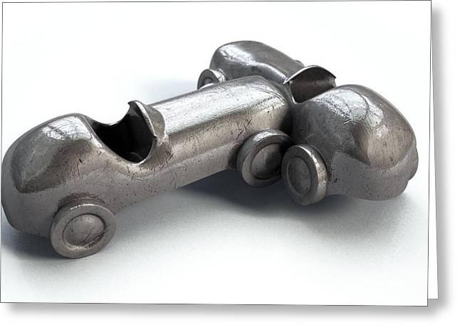 Toy Car Collision Greeting Card by Allan Swart