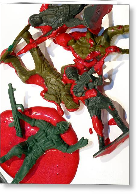 Toy Soldiers In A Pool Of Blood Greeting Card