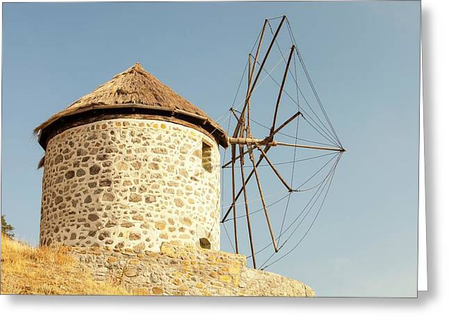 Traditional Greek Cloth Sailed Windmills Greeting Card by Ashley Cooper