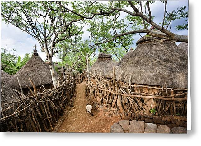 Traditional Konso Village On A Mountain Greeting Card