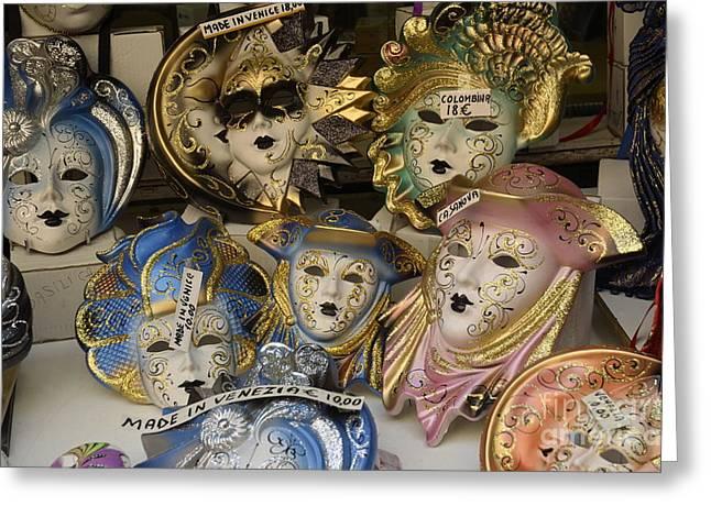 Traditional Venetian Masks  Greeting Card by Sami Sarkis