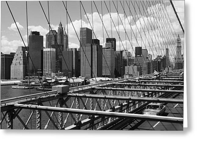 Traffic On A Bridge, Brooklyn Bridge Greeting Card by Panoramic Images