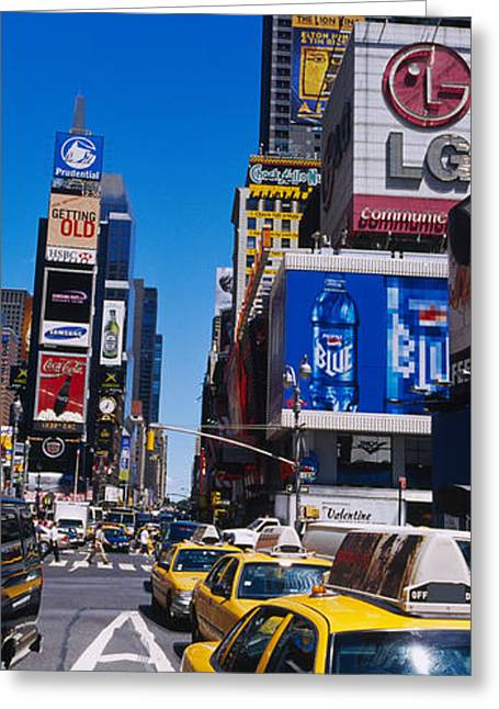 Traffic On A Street, Times Square Greeting Card by Panoramic Images