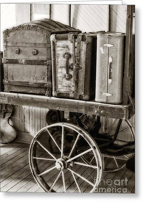 Train Station Luggage Cart Greeting Card