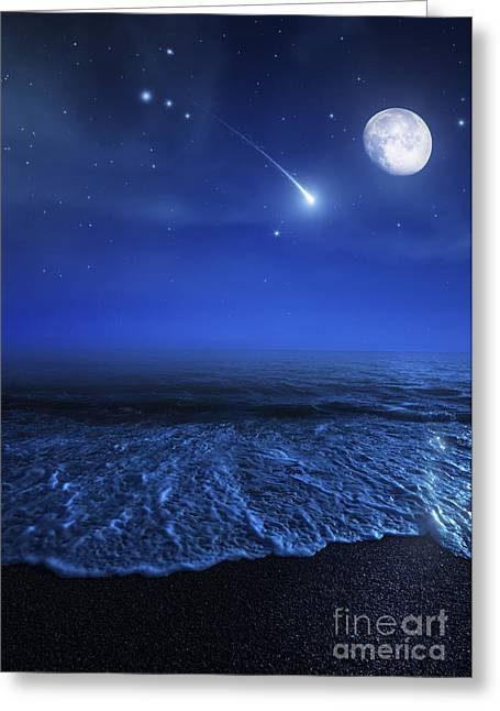 Tranquil Ocean At Night Against Starry Greeting Card by Evgeny Kuklev