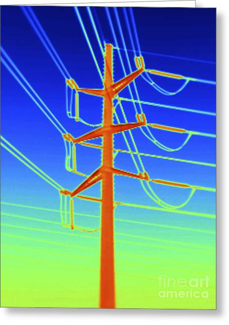 Transmission Tower Thermogram Greeting Card by GIPhotoStock