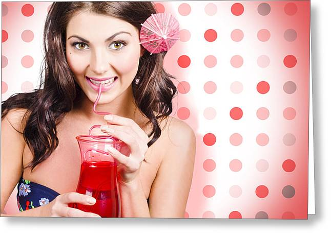 Travel Holiday Woman Drinking Red Cocktail Greeting Card by Jorgo Photography - Wall Art Gallery