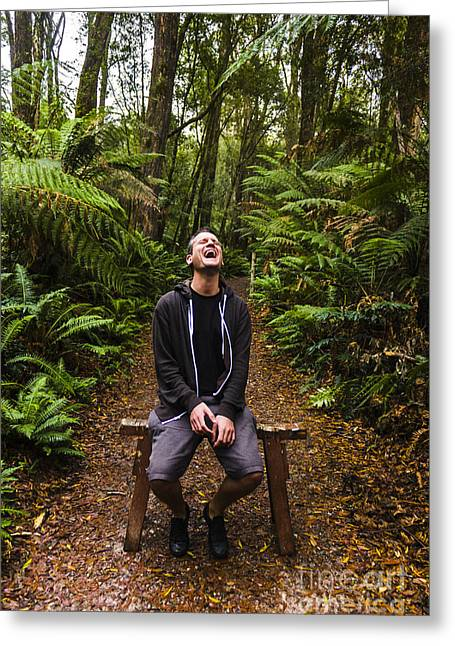 Travel Man Laughing In Tasmania Rainforest Greeting Card by Jorgo Photography - Wall Art Gallery