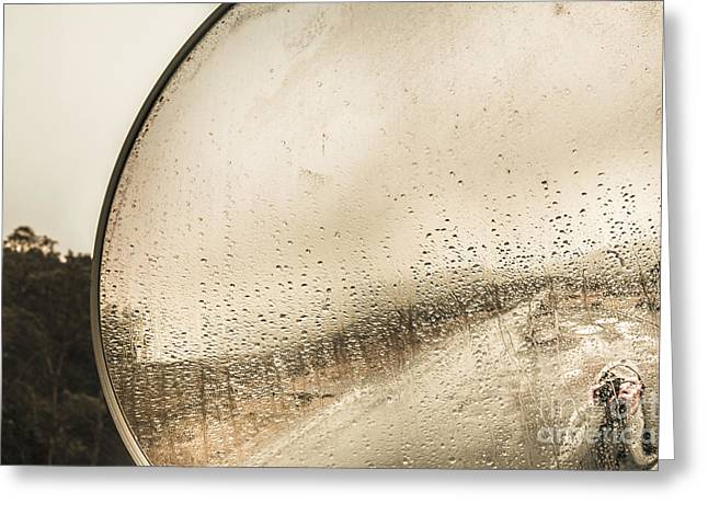 Travelling Photographer Taking Wet Weather Photo  Greeting Card by Jorgo Photography - Wall Art Gallery