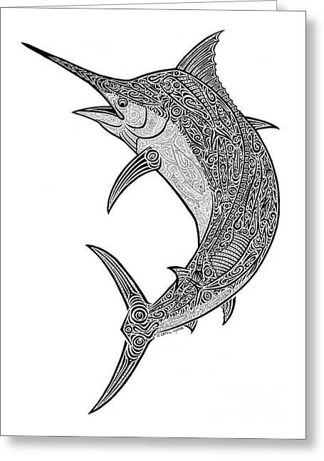 Tribal Black Marlin Greeting Card by Carol Lynne