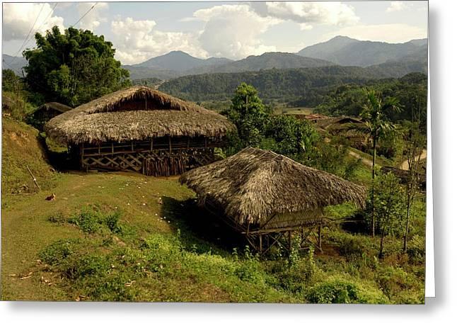 Tribal Homes In Arunachal Pradesh Greeting Card by Jaina Mishra
