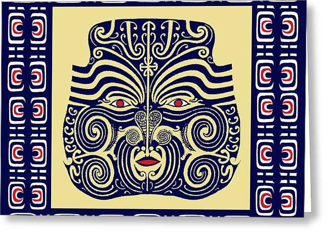 Greeting Card featuring the digital art Marquesas Tribal Spirits by Vagabond Folk Art - Virginia Vivier