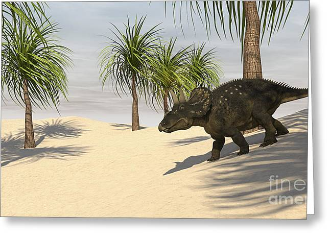 Triceratops Walking In A Tropical Greeting Card by Kostyantyn Ivanyshen