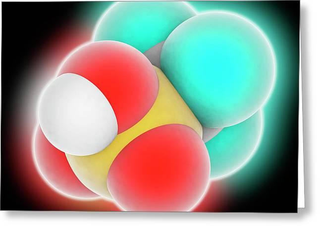 Trifluoromethanesulfonic Acid Molecule Greeting Card by Laguna Design