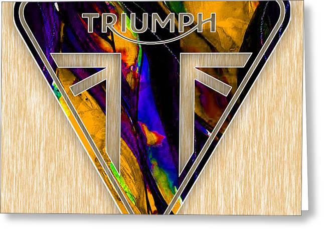 Triumph Motorcycle Greeting Card by Marvin Blaine