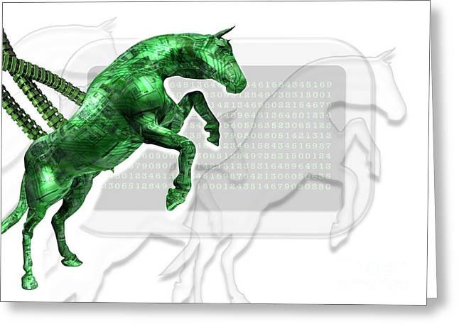 Trojan Horse, Conceptual Artwork Greeting Card