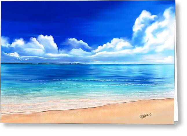 Greeting Card featuring the digital art Tropical Blue by Anthony Fishburne