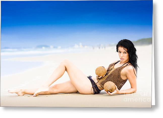 Tropical Paradise Girl Greeting Card by Jorgo Photography - Wall Art Gallery