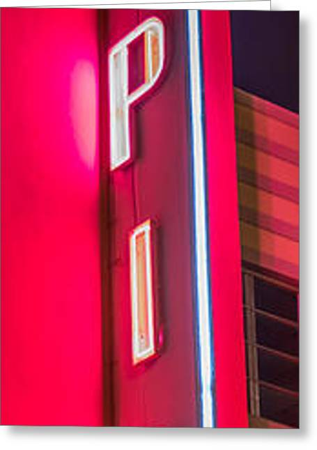 Tropics Neon Sign Art Deco District Sobe Miami - Black And White Greeting Card by Ian Monk