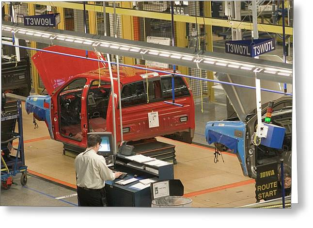 Truck Assembly Production Line Greeting Card by Jim West