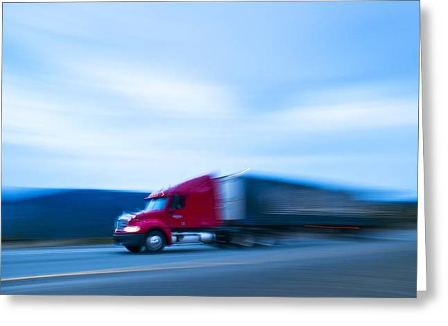 Truck On Motorway Greeting Card by Science Photo Library