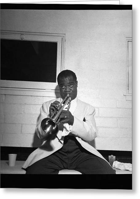 Trumpeter Louis Armstrong Greeting Card by Underwood Archives
