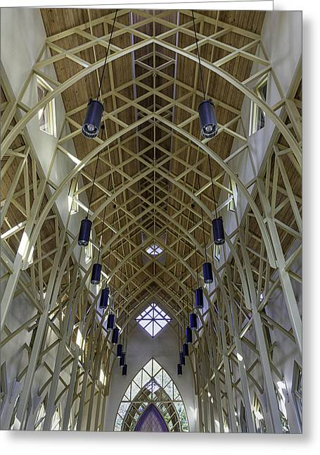 Trussed Arches Of Uf Chapel Greeting Card by Lynn Palmer