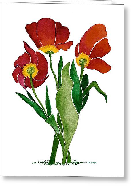 Greeting Card featuring the painting Tulip Trio by Nan Wright
