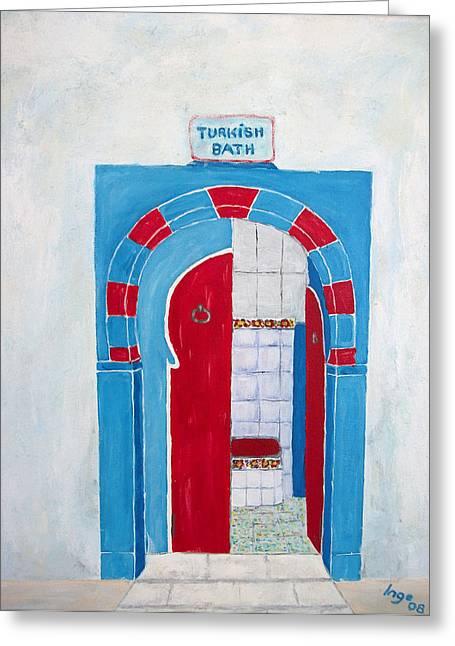 Turkish Bath Greeting Card by Inge Lewis