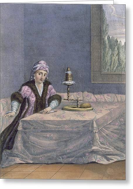 Turkish Woman Spinning Thread, C.1708 Greeting Card