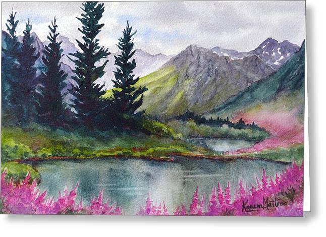 Greeting Card featuring the painting Turnagain Pass Fireweed by Karen Mattson