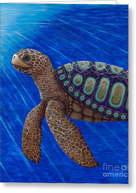 Greeting Card featuring the painting Turtle Painting Bomber Triptych 2 by Rebecca Parker