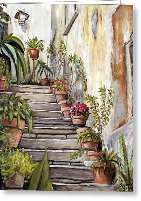 Greeting Card featuring the painting Tuscan Steps by Melinda Saminski