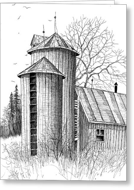 Twin Silos Greeting Card by Steven Schultz