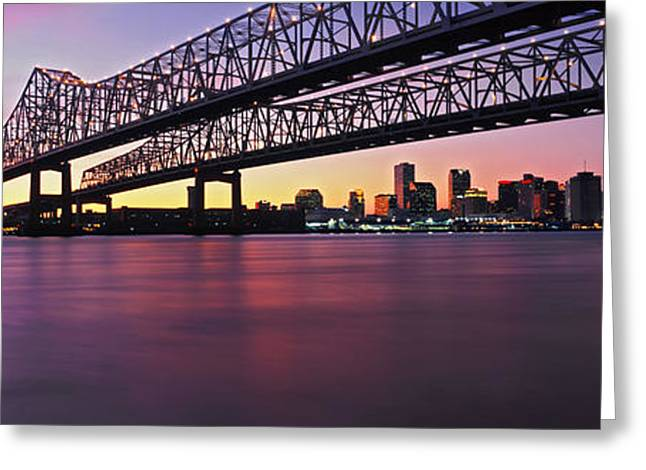 Twins Bridge Over A River, Crescent Greeting Card by Panoramic Images
