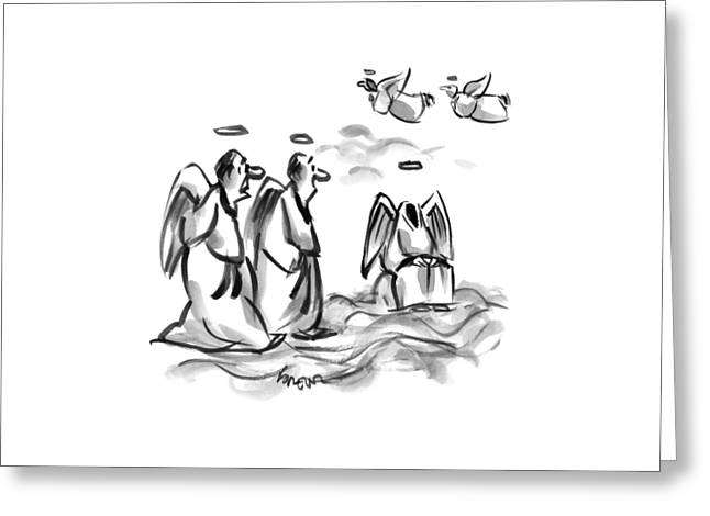 Two Angels Discuss A Third Headless Angel Greeting Card by Lee Lorenz