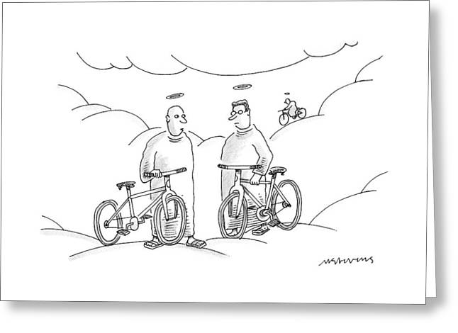 Two Angels With Bicycles Converse. Another Angel Greeting Card