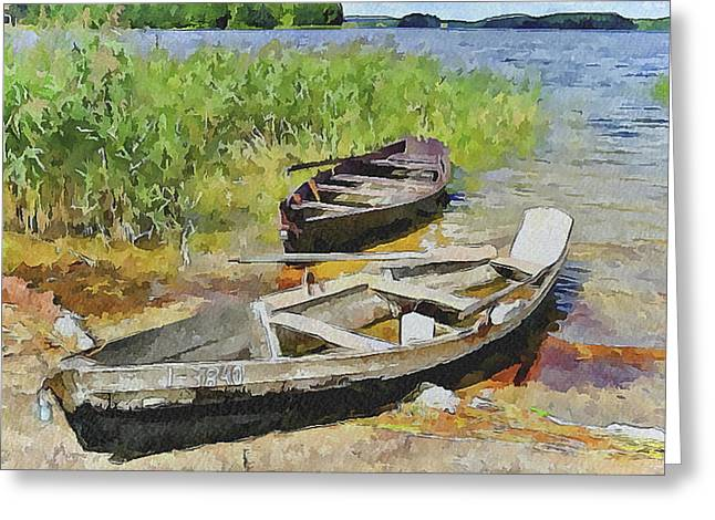 Two Boats Greeting Card by Yury Malkov