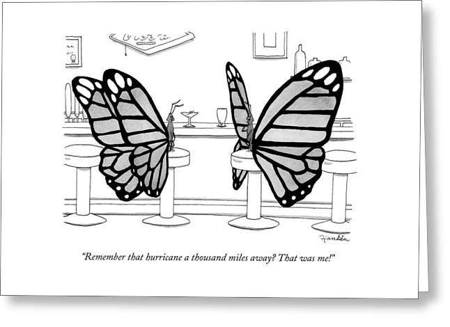 Two Butterflies Talking In A Bar Greeting Card