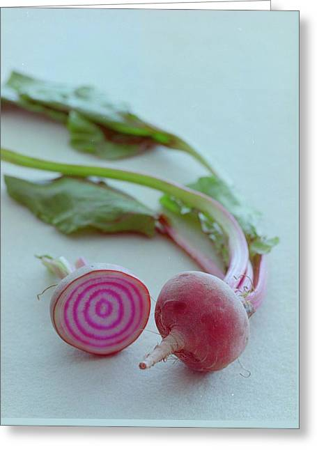 Two Chioggia Beets Greeting Card by Romulo Yanes