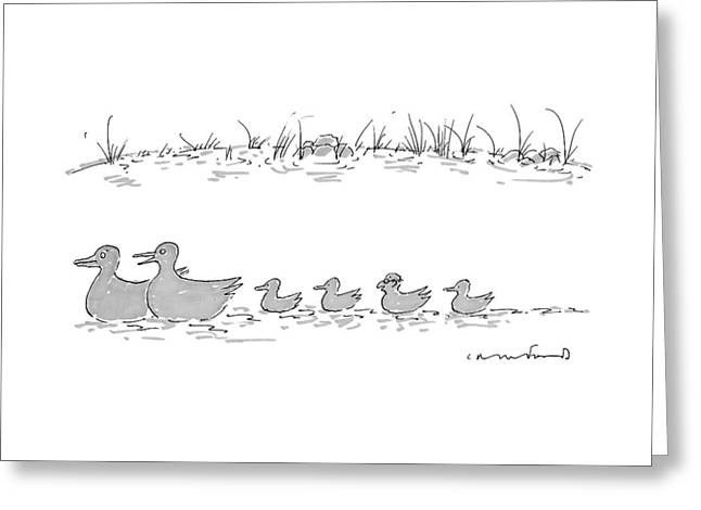 Two Ducks Lead A Line Of Four Ducklings Greeting Card