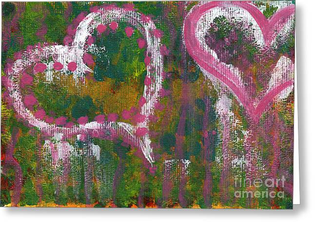 Two Hearts Greeting Card by Angela Bruno