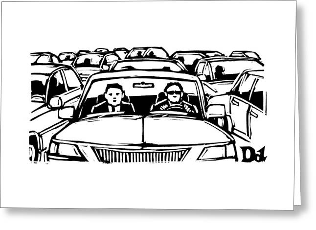 Two Men In A Car Are Stuck In Traffic Greeting Card