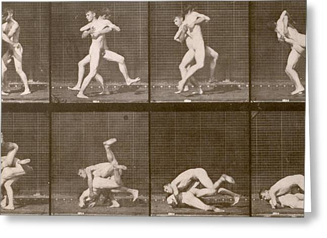 Two Men Wrestling Greeting Card by Eadweard Muybridge