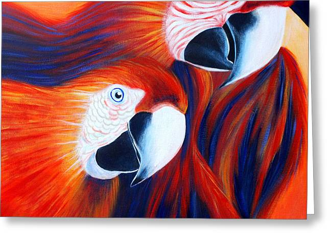 Greeting Card featuring the painting Two Parrots. Inspirations Collection. by Oksana Semenchenko